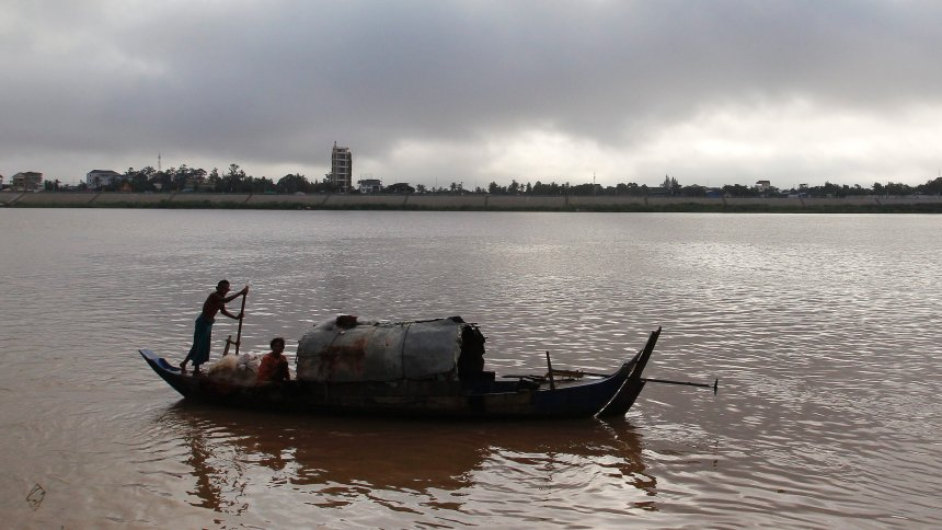 A Cambodian fishing boat on the Mekong River in Phnom Penh, Cambodia.